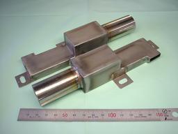 板金加工(溶接あり):鉄 SPCC t0.5 + ステンレスパイプ SUS304 t0.8